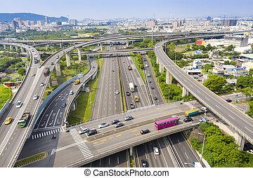 vue, taiwan, kaohsiung, aérien, autoroute, échange, city.