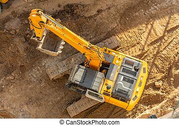 vue., terrestre, sommet, seau, élevé, excavateur, site, construction, aérien