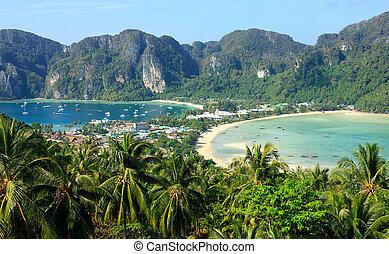 vue, thailand., point, phi, île, examen, sud, mettre