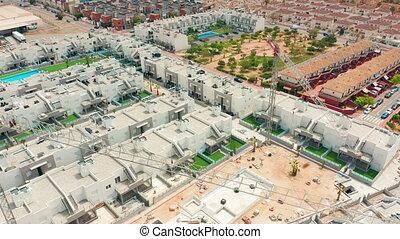 vue., torrevieja., espagne, contruction, alicante, costa, aérien, blanca, secteur, bâtiments., nouveau
