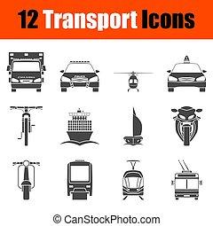 vue, transport, icône, ensemble, devant