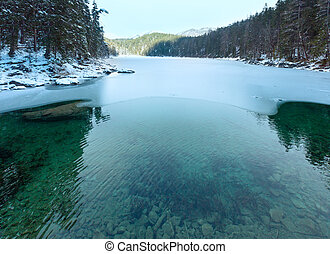 vue., untersee, lac, hiver