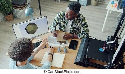 vue, utilisation, homme, bureau, angle, fonctionnement, 3d,...