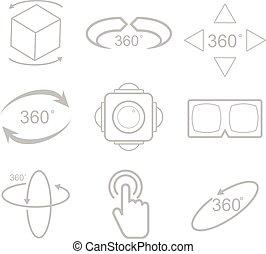 vue, vecteur, degrés, 360, icône