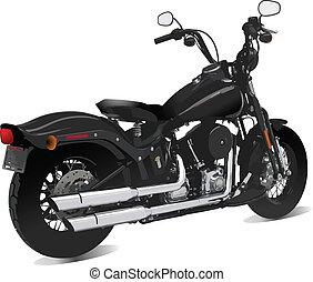 vue., vecteur, motocyclette, illu, côté