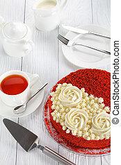 vue, velours, gâteau, au-dessus, rouges