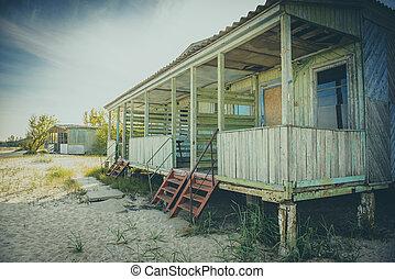 vue, vieux, abandonnés, cabine, porche