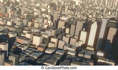 vue ville, aérien, 3d