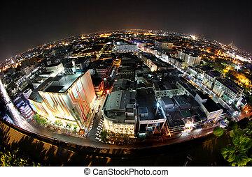vue ville, crépuscule, temps