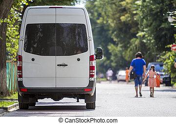 vue, ville, dos, minibus, fourgon, taille, été, blanc, garé...