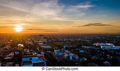 vue ville, matin, aérien, temps