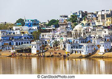 vue, ville, rajasthan, india., pushkar