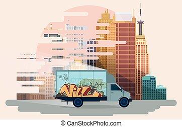 vue ville, trafic, urbain, arrière-plan.
