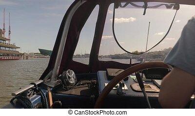 vue, voile, amsterdam, bateau, eau
