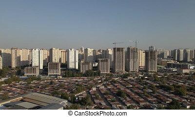vue., voiture, garages, bâtiments., fond, résidentiel, garage., aérien