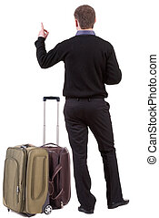 vue, voyager, dos, homme, valise, business, pointing.