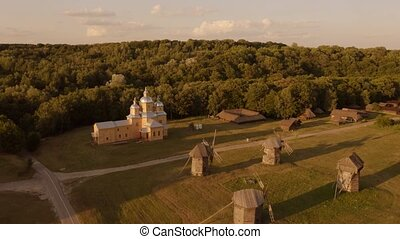 vue, windmills., champ, campagne, aérien, églises