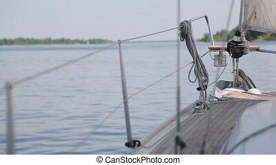 vue, yacht, lac, poupe