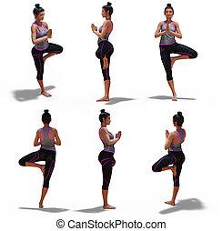vue, yoga, femme, pose arbre, 6, angles