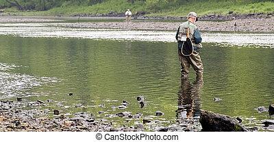 vuele pescando, en, el, lago