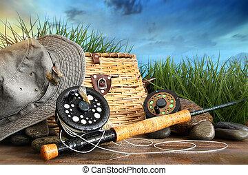 vuele pescando, equipo, con, sombrero, en, de madera, muelle