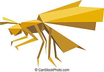 vuelo, abeja, insecto, en, origami, estilo
