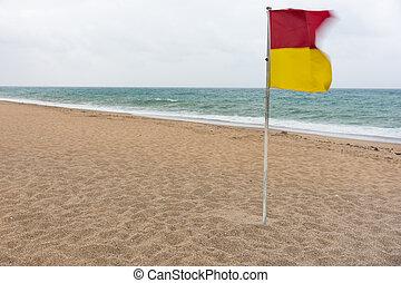 vuelo, amarillo, bandera, advertencia, rojo, viento