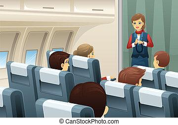 vuelo, asiento, cómo, demostrar, atar, asistente, cinturón
