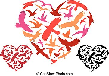 vuelo, aves, corazón, vector
