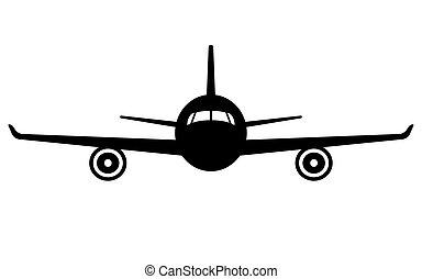 vuelo, avión, frente, avión, icon., vista