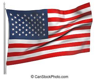 vuelo, bandera, de, estados unidos, -, todos, países