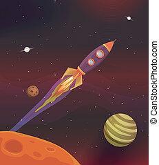 vuelo, caricatura, galaxia, nave espacial