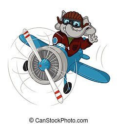 vuelo, caricatura, grande, carácter, aislado, Colección,...