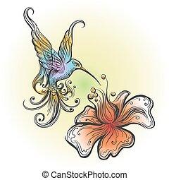 vuelo, colibrí, en, tatuaje, estilo