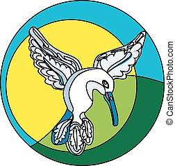 vuelo, colibrí, logotipo
