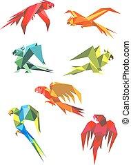 vuelo, colorido, loros, en, origami, estilo