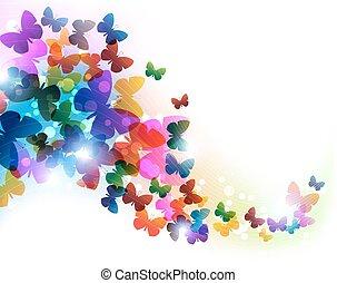 vuelo, colorido, mariposas