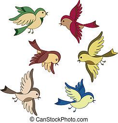 vuelo, conjunto, caricatura, pájaro