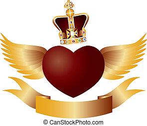 vuelo, corazón, con, corona enjoya, ilustración