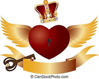 vuelo, corazón, con, corona enjoya, y, llave, ilustración