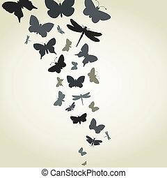 vuelo, de, mariposas