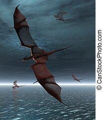 vuelo, de, rojo, dragones, encima, el, mar