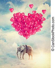 vuelo, elefante