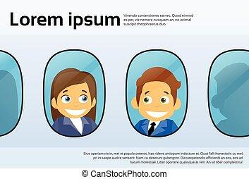 vuelo, empresarios, windows, avión, mujer, avión, caricatura...