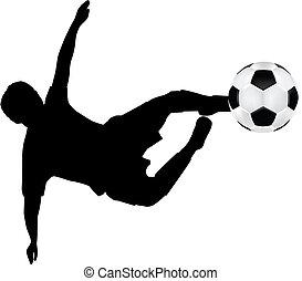 vuelo, fútbol, silueta, patada
