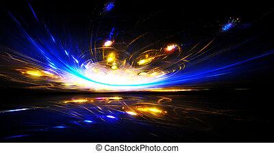 vuelo, forma, sky., extranjero, meteorito, noche, misterioso, arte, graphics., fractal