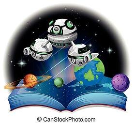 vuelo, galaxia, nave espacial, libro