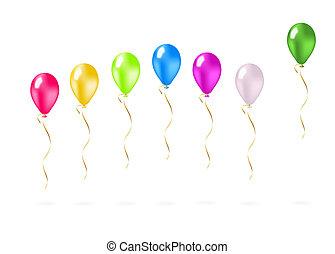 vuelo, globos, colorido, fila
