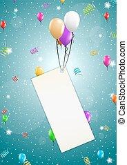 vuelo, globos, con, blanco, papel