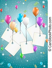 vuelo, globos, con, blanco, papeles